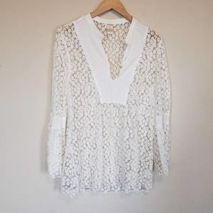 Sundance White Lace Blouse bell sleeve